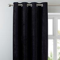 Chenille Black Eyelet Curtains Black