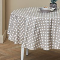 Taupe Dotty Round PVC Tablecloth Taupe
