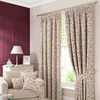 Heritage Glava Damson Pencil Pleat Curtains Cream / Purple