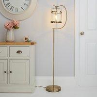 image-Hurricane Antique Brass Floor Lamp Bronze