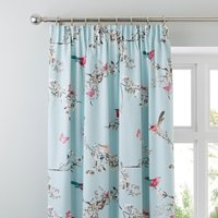 Beautiful Birds Duck-Egg Thermal Pencil Pleat Curtains Duck