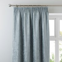 Chenille Duck-Egg Pencil Pleat Curtains Duck Egg Blue