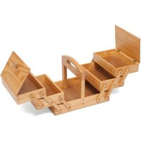 image-Light Wood Three Tier Cantilever Sewing Box Oak Brown