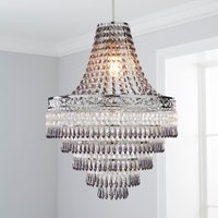 image-Blenheim 34cm Smoked Jewels Chandelier Easy Fit Pendant Charcoal Grey