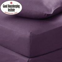 Non Iron Plain Fitted Sheet Dark Purple