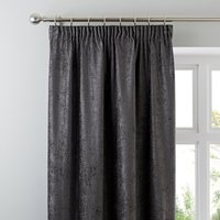 Chenille Grey Pencil Pleat Curtains Grey