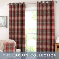 Highland Check Red Eyelet Curtains Red and Brown