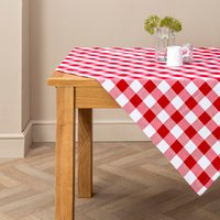 Red Gingham Check Tablecloth Red / White