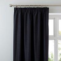Nova Black Blackout Pencil Pleat Curtains Black