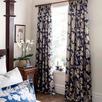 Dorma Samira Blue Pencil Pleat Curtains Blue and Brown
