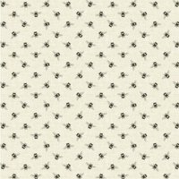 Bees Linen Cotton Fabric Light Brown / Natural