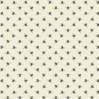 Bees Linen Cotton Fabric Light Brown / Natural