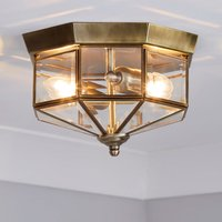 image-Ab 2 Light Antique Brass Flush Ceiling Fitting Bronze