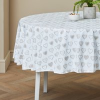 Country Heart Round PVC Tablecloth Cream