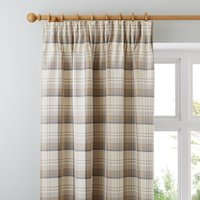 Balmoral Ochre Pencil Pleat Curtains Brown / Grey