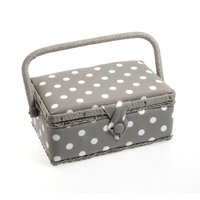 image-Grey Dotty Sewing Box Grey
