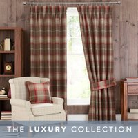 Highland Check Red Pencil Pleat Curtains Red and Brown