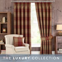 Highland Check Wine Pencil Pleat Curtains Red / Brown