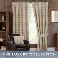 Highland Check Natural Pencil Pleat Curtains Light Brown / Natural