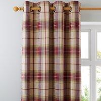 Dorma Bloomsbury Check Plum Eyelet Curtains Cream and Purple