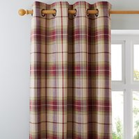 Dorma Bloomsbury Check Plum Eyelet Curtains Cream / Purple