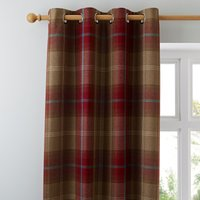 Highland Check Wine Eyelet Curtains Red and Brown