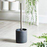 image-Grey Resin Toilet Brush Holder Grey