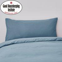 image-Non Iron Plain Dye Kingsize Denim Blue Pillowcase Pair Plain Dye Denim Blue