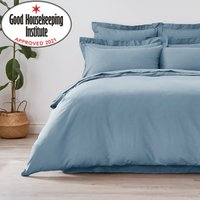 image-Non Iron Plain Dye Denim Blue Duvet Cover Duck Egg Blue