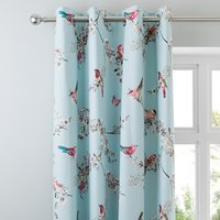 Beautiful Birds Duck-Egg Thermal Eyelet Curtains Blue, Pink and White