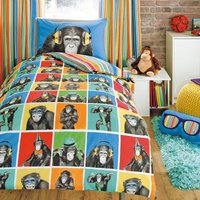 image-Monkeying Around Duvet Cover and Pillowcase Set Blue