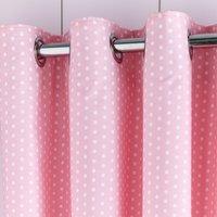 Pink Polka Dot Blackout Eyelet Curtains Pink and White