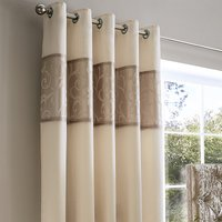Lucia Natural Thermal Eyelet Curtains Brown
