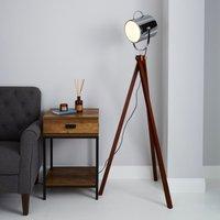 image-Carlton Camera Tripod Wood Floor Lamp Silver