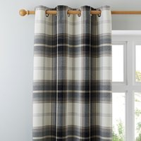 Highland Check Charcoal Eyelet Curtains Charcoal and White