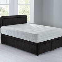 image-Lucia Front Opening Divan Set - Ottoman Chenille Charcoal