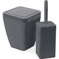 Addis Rattan Charcoal Toilet Brush & Bin Set Charcoal