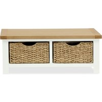 Wilby Cream Small Bench With Baskets Buttercream