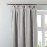 Chenille Silver Pencil Pleat Curtains Silver