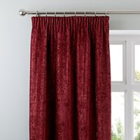 Chenille Wine Pencil Pleat Curtains Red