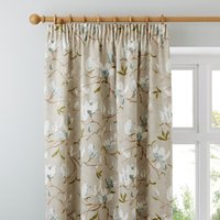 Magnolia Green Pencil Pleat Curtains Green, Blue and White