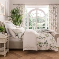 image-Dorma Botanical Garden Digitally Printed 100% Cotton Duvet Cover White and Green