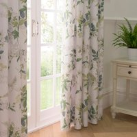 Dorma Botanical Garden Blackout Pencil Pleat Curtains White and Green