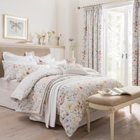 image-Dorma Wildflower Digitally Printed 100% Cotton Duvet Cover White / Purple