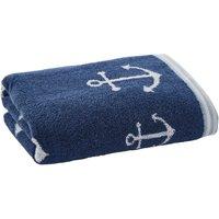 Anchor Motif Navy Hand Towel Navy (Blue)