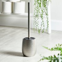 image-Silver Hammered Effect Toilet Brush Silver