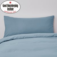 Non Iron Plain Dye Denim Blue Bolster Pillowcase Denim (Blue)