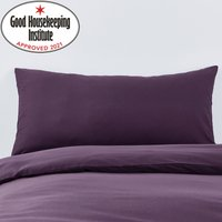 Non Iron Plain Dye Blackcurrant Bolster Pillowcase Blackcurrant (Purple)