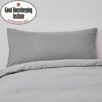 Non Iron Plain Dye Slate Bolster Pillowcase Slate (Grey)