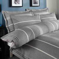 Willington Grey Striped Woven Duvet Cover and Pillowcase Set Grey
